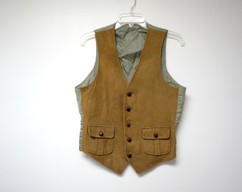 SALE!!! suede front . men's vest . medium