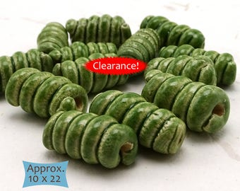 Long Twisted Spiral Beads Handcrafted Fair Trade from Cambodia—5 Pcs--40% OFF | 33-CS-CG-5