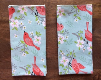 Birds On Cherry Blossoms Cloth Napkins