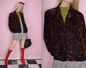 90s Floral Print Velvet Bomber Jacket/ Large/ 1990s