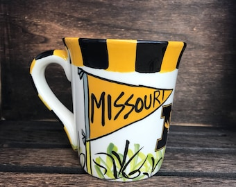 Licensed University of Missouri Tigers Mizzou Ceramic Coffee Mug with my Hand Poured, Soy Candle, Choose Your Scent