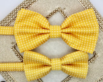 Yellow bowties, dad and son bowties, mens bow tie, toddler bow tie, polka dot bowties, yellow mens bowtie, boys bow ties, ring bearer bowtie