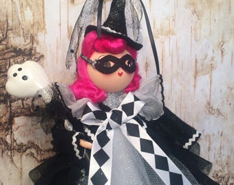 Halloween masquerade witch doll centerpiece halloween decor fall decor art doll witch tree topper pink hair doll vintage retro inspired