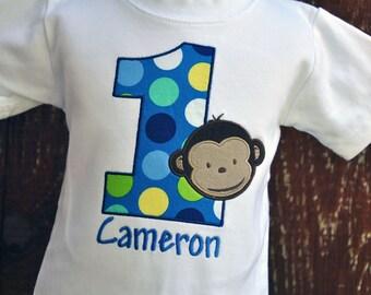 Personalized Monkey Boy Birthday Shirt
