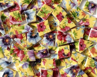100 Yellow Chintz Mosaic Tiles/ Broken Dish/Vintage China/Hand Cut/Mosaic Supplies/Jewelry Supplies//Craft