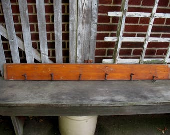 Vintage Wood Wall Coat Rack Salvaged from an Old House 6 Hooks Rustic Primitive