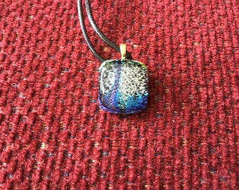 Tree of Life Dichroic Glass Pendant Necklace