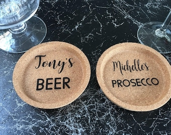 Engraved Personalised Cork Coasters - Any Name - Any Drink