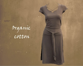 organic cotton dress, summer dress GOTS certified organic cotton, sportly tricot dress