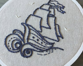 Nautical Ship at Sea Handmade Hoop Embroidery. Embroidery Hoop Art. Wall Art. Nursery Decor. Baby Shower Gift.