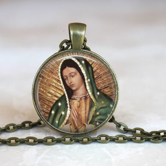 Our Lady of Guadalupe Necklace - Catholic Pendant with 24 inch chain