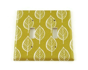 Double Switchplate Light Switch Cover in  Olive and Leaves  (220)