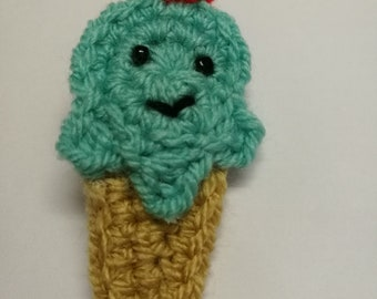 Bubblegum Happy Ice Cream Crochet Hairclip