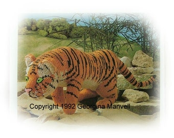 BENGAL TIGER toy knitting pattern by Georgina Manvell