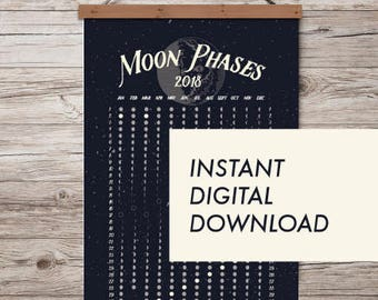 MOON PHASES 2018  |  Lunar Calendar  | Print/poster  |  Instant Download