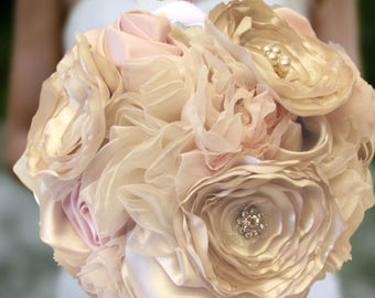Champagne and Blush Pink Wedding Bouquet, Fabric Flower Keepsake Bridal Shabby Chic Vintage-Inspired Brooch Bouquet