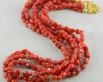 Vermeil Victorian Antique Red Italian Coral Necklace AN-N43