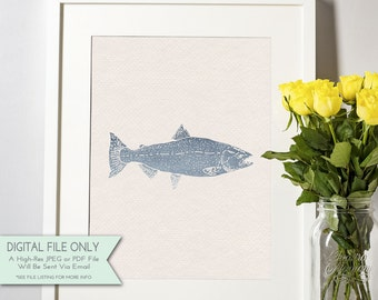 Fish Watercolor Print - Nautical Print - Ombre Watercolor - Nautical Decor - INSTANT DOWNLOAD Digital File Only {8x10}