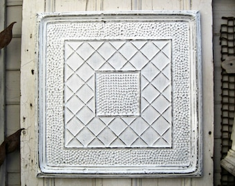 2x2 ANTIQUE Metal tile, Antique White Architectural salvage, 10th tin anniversary gift, Office wall decor, Magnet Board