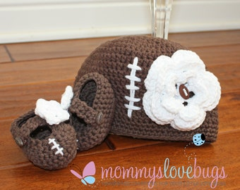 Touchdown Football Baby Girls Beanie and Booties Set - Newborn through 12 Month Sizes Available