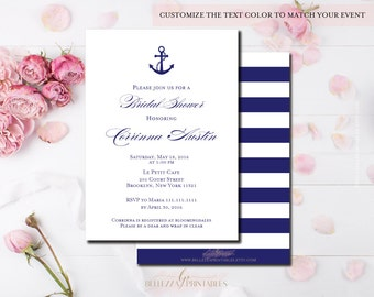 Elegant Nautical Bridal Shower Invite- Navy Stripe Bridal Shower Prints- Nautical Shower Invitations-Digital File or Printed Cards-BS10
