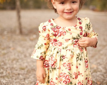 INSTANT DOWNLOAD- Ella Dress (sizes 6/12 to months to 10) PDF Sewing Pattern and Tutorial
