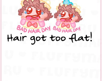 Bad Hair Day Sammie || Planner Stickers, Cute Stickers for Erin Condren (ECLP), Filofax, Kikki K, Etc. || SFS33