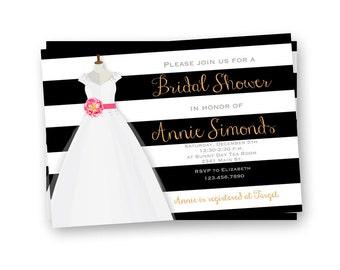 Bridal Shower Invitation, Black and Gold Wedding Shower Invitation, Printable Bridal Shower Invitation