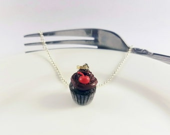 Scented Chocolate Cherry Cupcake, Miniature Food Jewelry / Chocolate Cupcake Necklace / reverdefaire