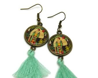 """Boucles d'oreille """"Frida dans tous ses états"""", pompons et bronze"""