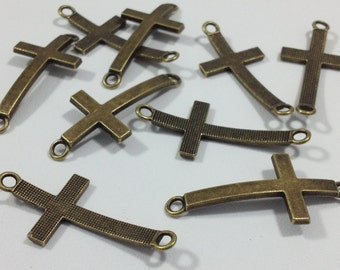 10 Antique Bronze Cross Connectors Findings