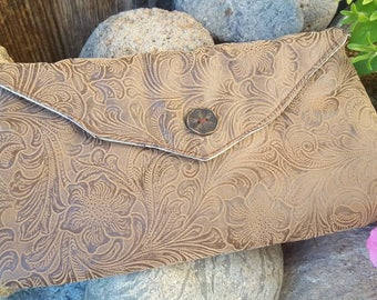 Brown Tooled Clutch, Faux Leather Clutch, Clutch with Magnetic Snap, Brown Floral Clutch