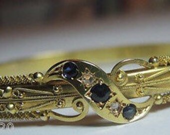 Victorian Vintage Natural Sapphire Rose Cut Diamonds 15K Yellow Gold Bangle Bracelet Fits 6.5 Inch Wrist Weight 13.3 Grams Circa 1910