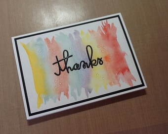 Water colored thank you card