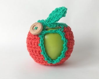 Crochet Apple Cozy Fruit Cozy Cotton Lunch Box Bag Treat // Teacher Gift Neighbor Friend Child Back To School // Colorway Naval Orange