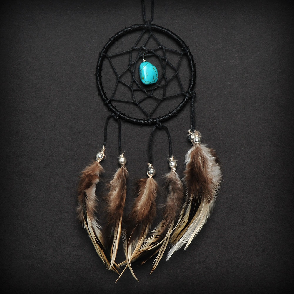 What Stores Sell Dream Catchers Black Turquoise Stone Car Mirror Dream Catcher Small 9