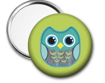 Owl Pocket Mirror, Green  Owl Pocket Mirror