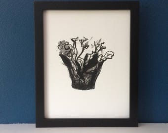 Kalanchoe - Black & White Succulent Botanical Art Print, Wall Art, Original Art Print