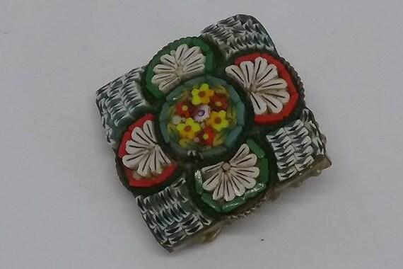 Antique Micro Mosaic Brooch, Italian Glass Micro Mosaic Victorian Pin, Antique Italian Glass Mosaic Pin, Vintage Italian Glass Mosaic Brooch