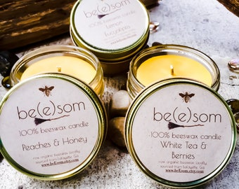 Free Shipping-Set of 4 or 6 100% Pure Beeswax jar candles-scented beeswax jar candle-organic pure beeswax 3oz jar candle-beeswax candle