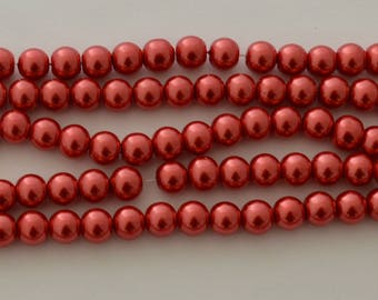 50 glass Pearl 8 mm red beads