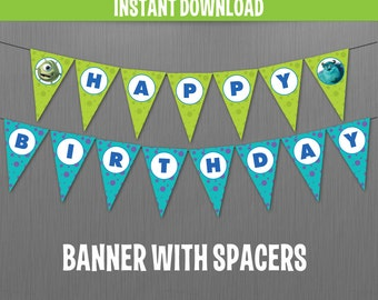Disney Monsters Inc. Happy Birthday Banner with Spacers- Instant Download and Edit with Adobe Reader