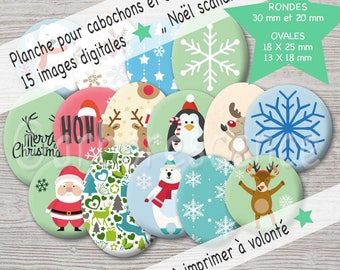 Scandinavian Christmas - picture digital diameter 20 / 30 oval 18/25 mm and 13/18 mm