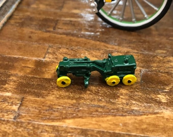 Miniature Tractor, Miniature Green and Yellow Toy Tractor, Dollhouse Miniature, 1:12 Scale, Dollhouse Accessory, Decor, Crafts