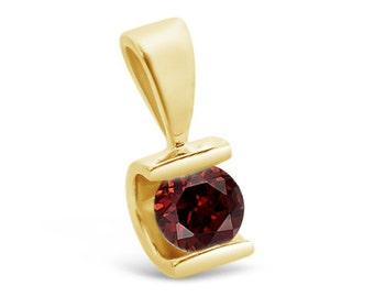 Art deco pendant-Garnet Pendant-Yellow Gold Pendant -Garnet necklace-Women Jewelry-Birthstone necklace-Thanksgiving present-Holidays gift