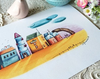 "My little town - Watercolour illustration, from the ""Little houses"" series, by Elisa Ansuini"