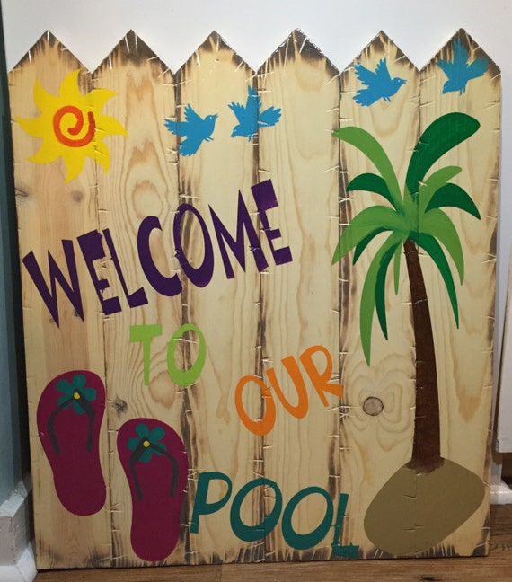 """Handmade Rustic Style Wooden Fence Picket Style Sign """"Welcome To Our Pool"""""""