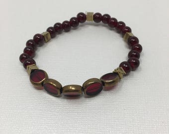 Red Beads with gold accent pieces
