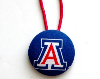 Giant Fabric Covered Button Pony Holder in U of Arizona Fabric