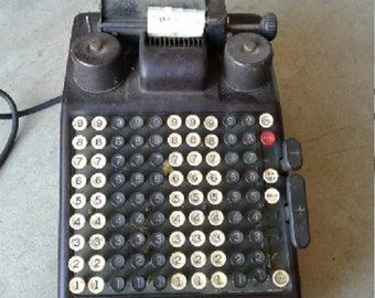 Burroughs Adding Machine Type 3 1930's Vintage Antique 10 Column Electric Cash Register Tested Works Plug Wire Needs Repair